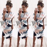 Cssayavi European Style Women Summer Dress 2017 Casual Print Short Sleeve V Neck Knee Length Bandage