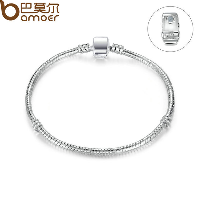 BAMOER High Quality Wholesale Silver Color Basic Snake Chain Magnet Clasp for Ch