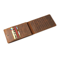 Crazy Horse Leather CardHolder 18 Slots Credit Card Cover Long Retro Business Wallet For Credit Cards