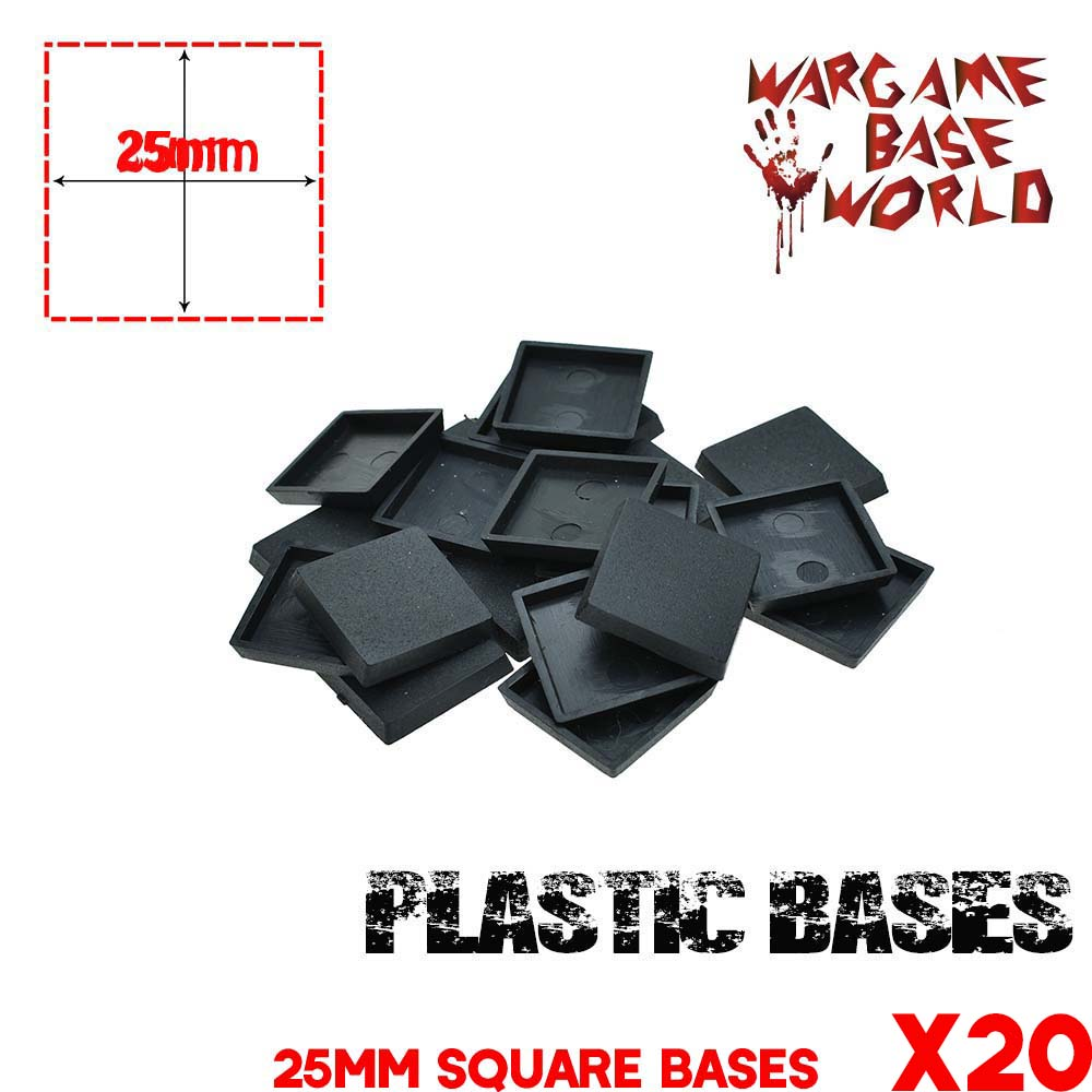 Model Bases For Gaming Miniatures 20pcs 25mm Square Base