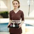 2016 Outono/Inverno Luva Dos Três Quartos Moda Spa Beleza Uniforme Custom Made V Neck Top + calças Compridas conjuntos Workwear Cafe Uniformes