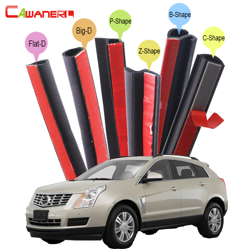 Cawanerl Rubber Car Seal Sealing Strip Kit Self-Adhesive Whole Auto Weatherstrip Seal Edging Trim For Cadillac SRX Escalade 10m super strong waterproof self adhesive double sided foam tape for car trim scotch