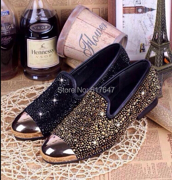 2014 New Design Fashion Men Cool Shining Crystal Gold Toe Shoes Slip-on Driving Loafers - Western Style Boutique store