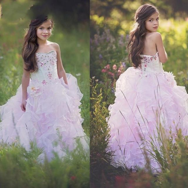 Lovely Pink Sweetheart Crystal Cheap Ball Gown   Flower     Girl     Dresses   2019 Princess   Flower     Girl     Dress   vestidos de comunion 2019