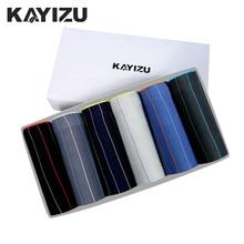 KAYIZU 6pcs/lot Striped Mens Underwear Cotton Boxer Shorts Male Pouch Underpants Panties Cuecas Masculina Men Underwears Lot
