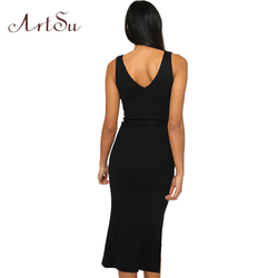 ArtSu Causal Summer Women Solid Dresses Sleeveless Skinny Brand Chic Elegant Sexy Split Long Dress Belt Vestidos ASDR30718 4