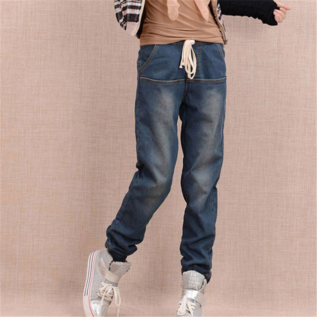 Arrival Winter Warm Jeans Women Thicken Fleece Skinny Harem Pants Trousers Elastic Waist Denim Trousers Plus Size Pants C1504 1