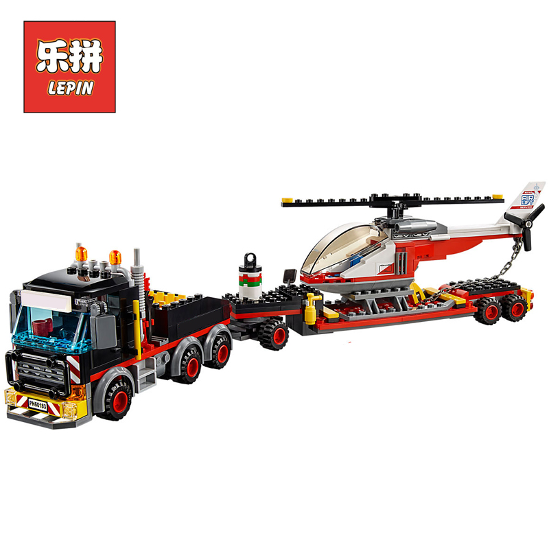 Lepin 02094 City Heavy Cargo Transport Vehicle Truck Helicopter Set Building Blocks Compatible 60183 Brick Toy Christmas Gift lepin 02036 298pcs city truck building block compatible 3221 brick toy