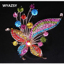 Classic Luxury Women Jewelry Colorful butterfly Brooches Crystal flower Kerchief Shawl Scarves Scarf buckle clips Accessories