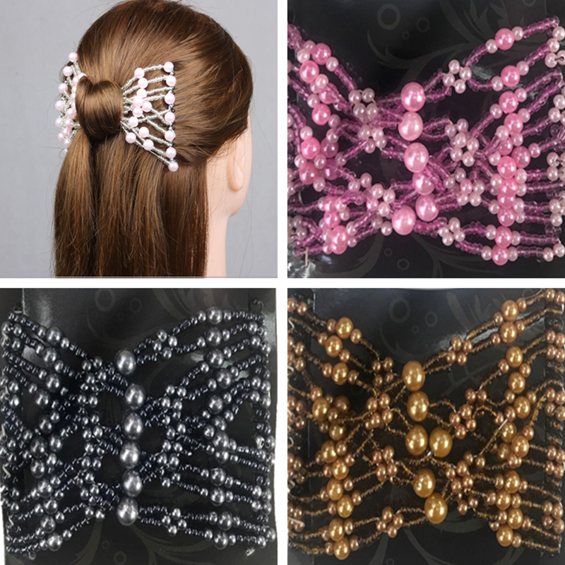 Easy Magic Beads Double Hair Comb Clip Stretchy Hair Combs Clips 6 colours