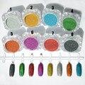 1.5g 1 Caixa de Venda Quente Holográfica Brilho Do Laser Em Pó Prego Glitter Manicure Nail Art Pigmento Cromo DIY Nails-8 Cores disponível