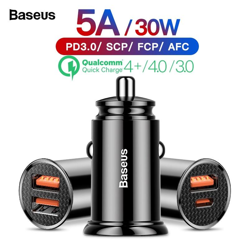 Baseus Charge rapide 4.0 3.0 voiture USB C harger QC4.0 QC 3.0 5A USB C PD rapide voiture-chargeur Charge pour Xiao mi mi 9 8 Huawei P30 Pro