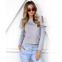 Women Spring Winter Tops Solid Color Ruffles Sleeves Sexy Cold Shoulder Casual Tee Shirt Open Shoulder