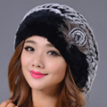 2016 New Genuine Rex Rabbit Fur Beanies Hat Women Winter Elegant Hat Warm Casual Striped Caps  Russia Fashion Female Caps