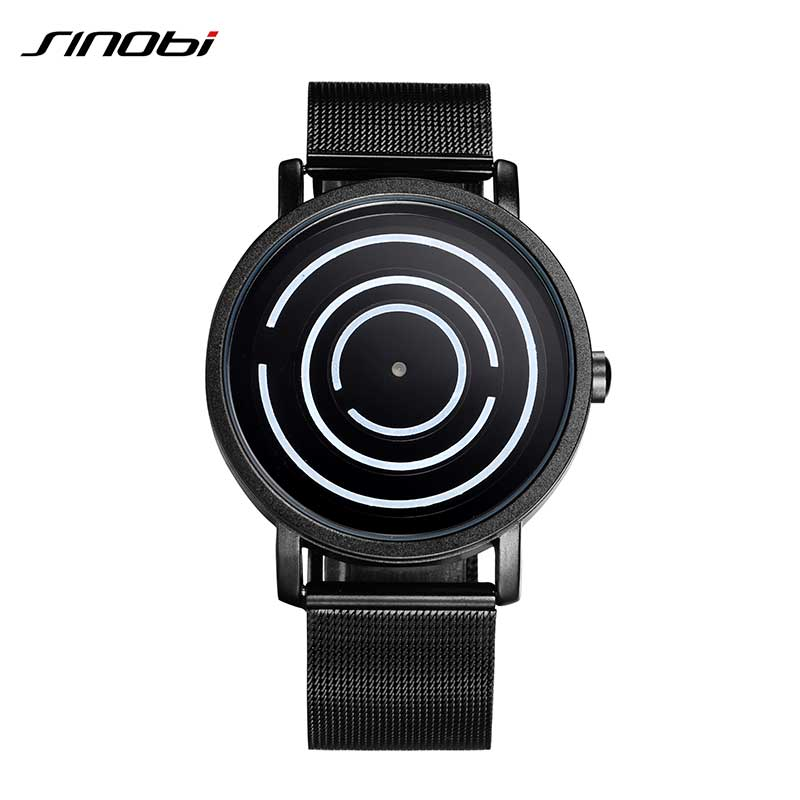 SINOBI Top Brand Cool Black Watches Mens Luxury Stainless Steel Mesh Band Quartz Wristwatch Relojes Hombre 2018 Male Clock cool mens watches caino cainuos top brand luxury quartz watch men wristwatches male clock wristwatch 316 l stainless steel