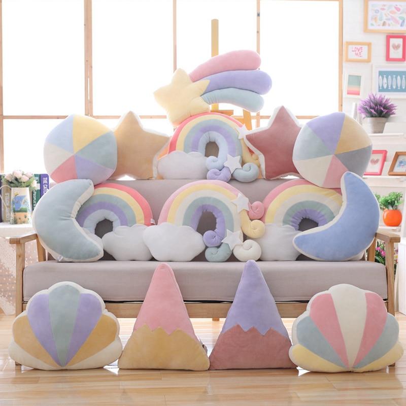 New Cute Plush Toys Kawaii Sky Series Baby Sleeping Pillow Stuffed Moon Soft Shooting Star Rainbow Shell Cushion Room Decor Gift