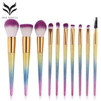 10Pcs Foundation Makeup Brushes Set Facial Contour Blush Brush Eyeshadow Eyebrow Eyelash Lip Blending Makeup Kit