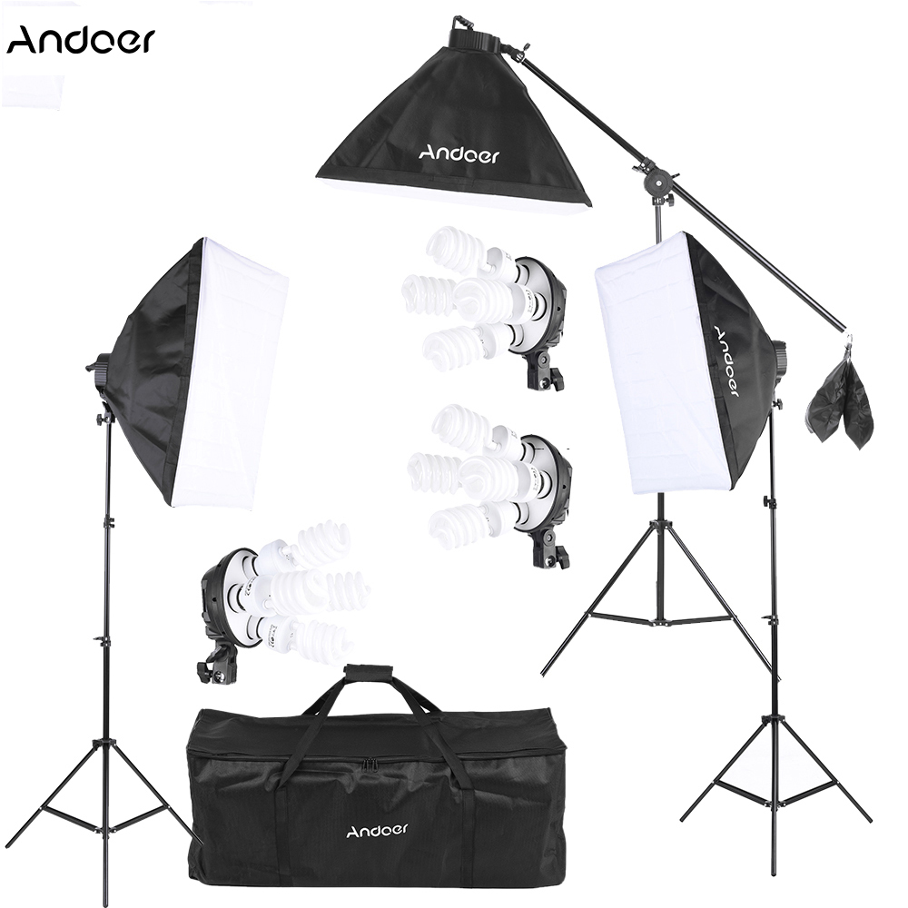 Andoer Photo Studio Kit Video Lighting Accessories 45W Bulb 4in1 Bulb Socket Softbox Light Stand Cantilever Stick Carrying Bag