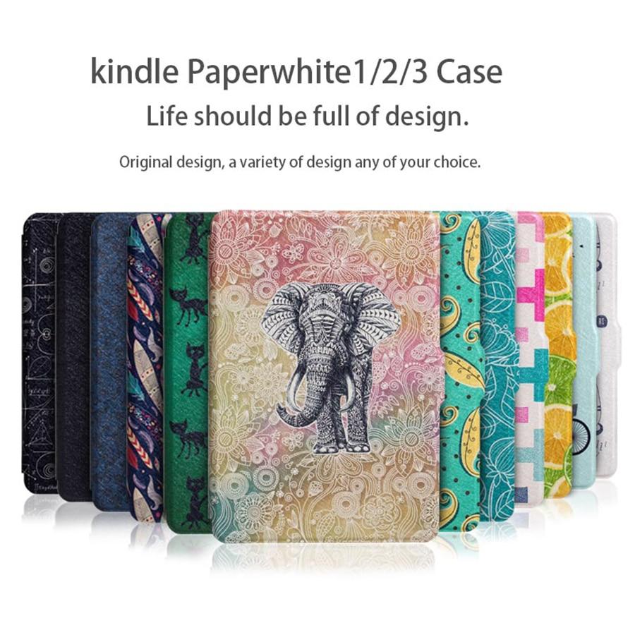 WALNEW luz Original de cuero de la PU caso para Amazon Kindle Paperwhite tableta amortiguador Tech accesorio beige Rojo Negro compruebe Tartan tableta amortiguador 6 pulgadas e-book 2012, 2013 de 2015 de la cubierta inteligente Auto dormir/despertar