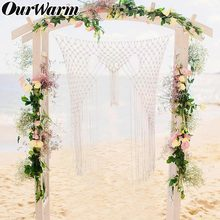 OurWarm Macrame Wall Hanging Boho Wedding Photo Backdrop Party Wall Decoration 105cm*150cm Handmade Hanging Gifts(China)