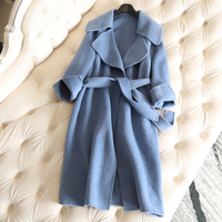 2018 New Autumn Winter Cashmere Coat Long Women's Woolen Coat Solid Big V neck Casual Female Overcoat Womens Wool Coats Sapphire
