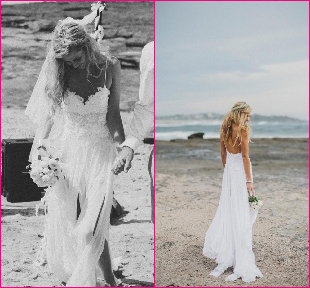 beach lace beach wedding dresses spaghetti straps sheath backless sexy chiffon lace wedding dress