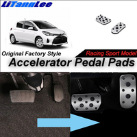LitangLee Car Accelerator Pedal Pad Cover Foot Throttle Pedal Cover Sport Racing Model For TOYOTA Yaris XP130 AT 2012~2018 LHD