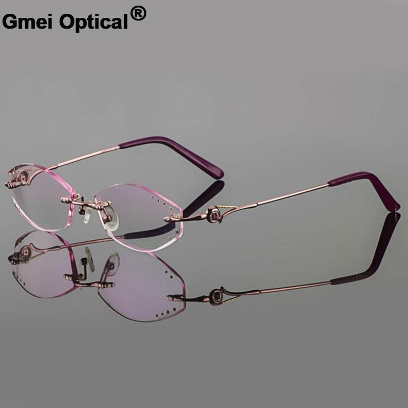 ⊰Gmei óptico diamante Rosa recorte cortar Rimless anteojos marco ...