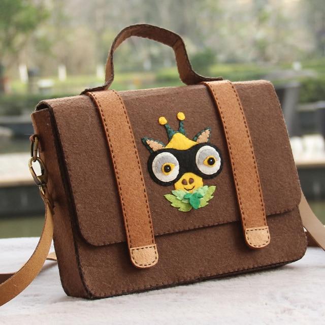 be005658c2ee New Fashion Soft Brown Color Handbag Women Felt Bag Handmade Female  Shoulder Owl Bags Felt DIY Package