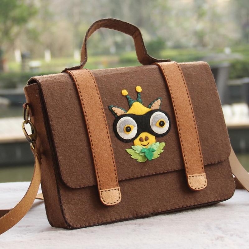 New Fashion Soft Brown Color Handbag Women Felt Bag Handmade Female Shoulder Owl Bags Felt DIY Package