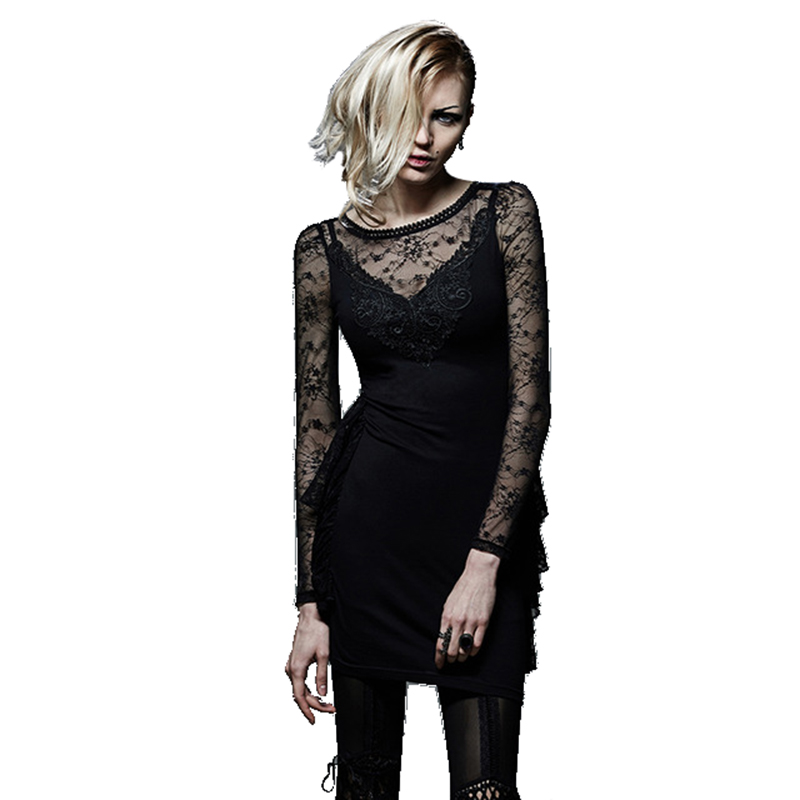 PUNK Sexy Expensive Young Ladies Evening Western Dresses Women Slim Fit Hollow Out Lace Dress