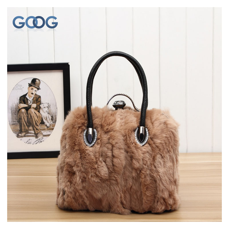 Europe and the United States new leather rabbit handbag fur handmade diamond fur lady Messenger bag leather casual shoulder bag the law and the lady