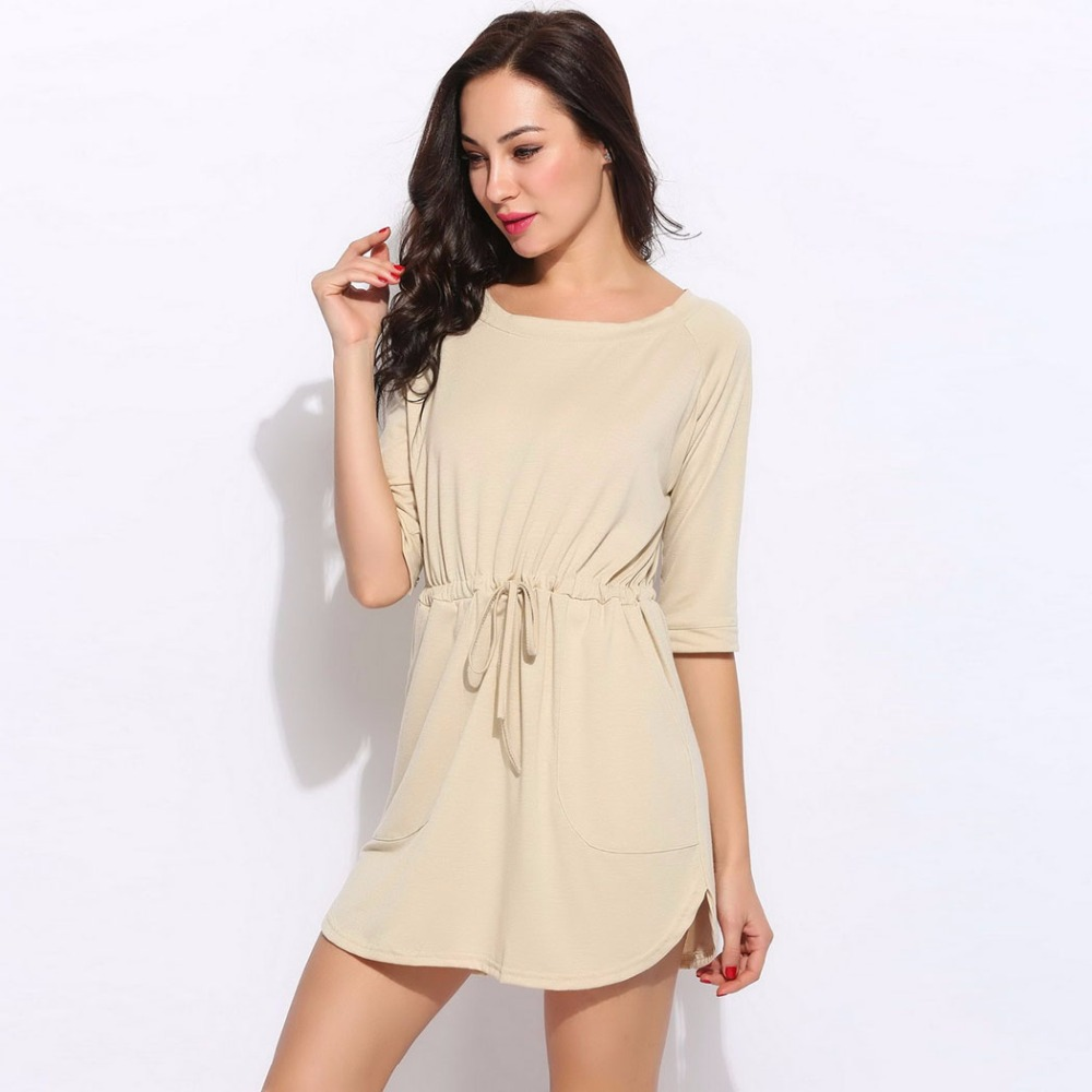 419cb987e144 Summer 2017 New Sexy Beach Casual Dress Women 3 4 Sleeve Front Pocket Short  Cute Sundress Female Beachwear Tunic Holiday Clothes-in Dresses from  Women s ...