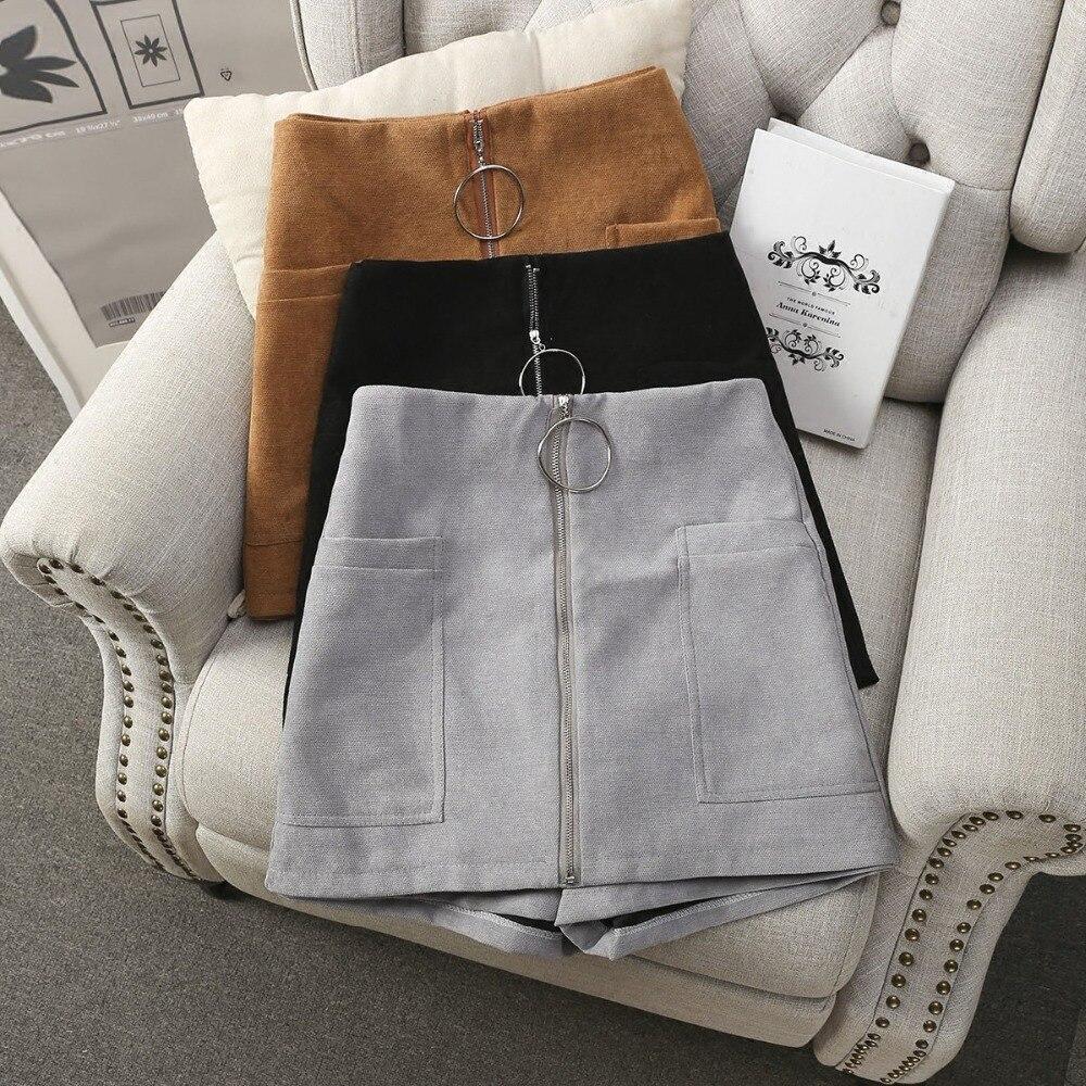 MUMUZI High Waist Ring Zipper Shorts 2019 Summer New Wide Leg Skirt Shorts Black Sexy Shorts Female Slim Skirt Shorts