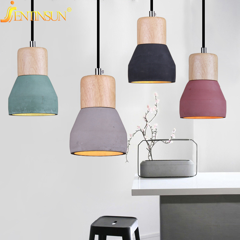 American Style Cement Pendant Lights Lamp 4 Colors Wood Hanging Lamps Light Restaurant Cafe Bar Creative Lighting Luminaire ascelina american retro pendant lights industrial creative rustic style hanging lamps pendant lamp bar cafe restaurant iron e27