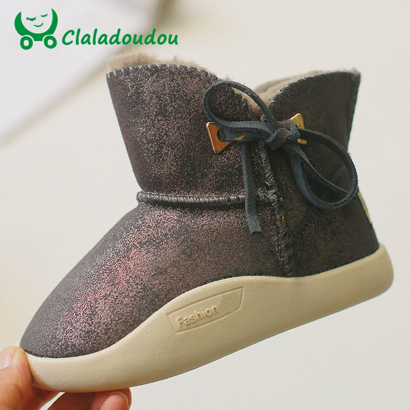 Claladoudou 16.5-23CM Brand Genuine Leather Women Snow Boots Kids Girls Plush Warm Princess Dress Shoes Lace-up Fashion Boots