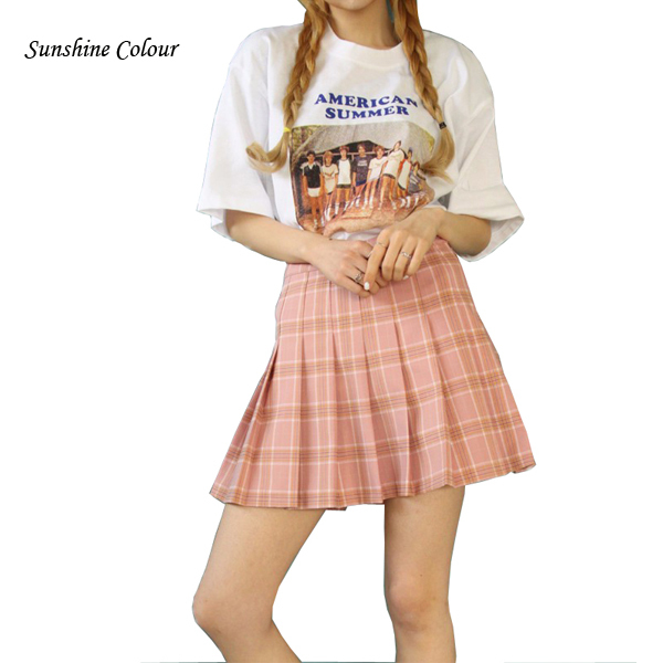 2017 Hot  Pleated Midi Skirts Women High Waist  Pleated Pink A-Line Short Skirts Uniforms School Tartan Plaid Skirt Saia