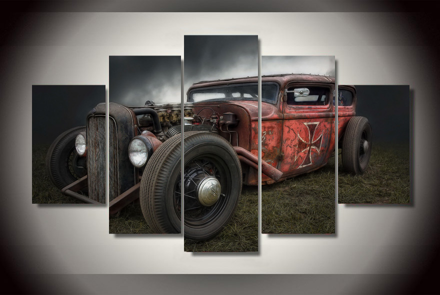 framed printed vintage cars painting childrens room decor print poster picture canvas free shippingwo