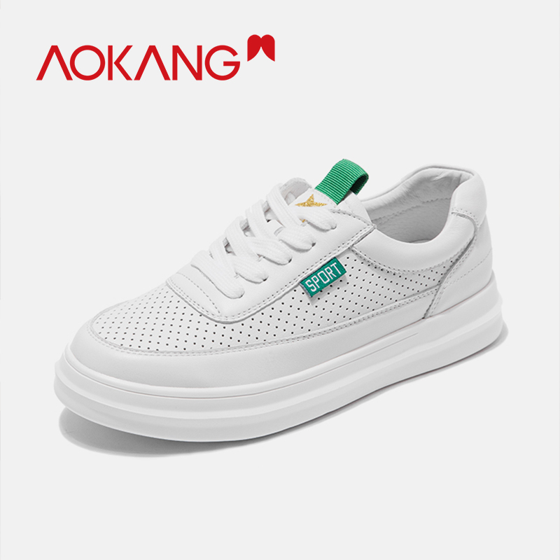 AOKANG Women s Shoes 2019 Summer genuine leather flat shoes high quality white shoes woman casual