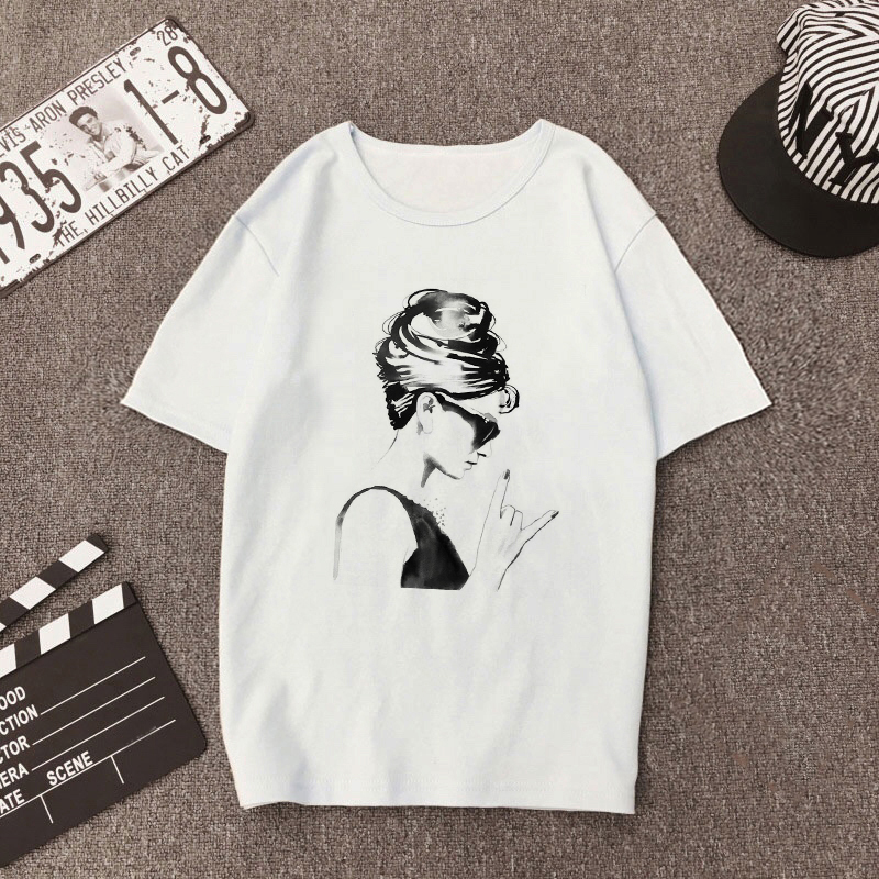 Audrey Hepburn Rock Women Cool T Shirt Women Fashion Summer Vogue Vintage T-shirt Hip Hop Girl Printed Harajuku Shirt