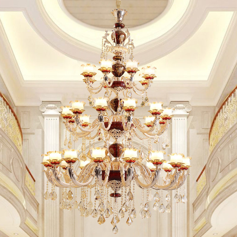 Crystal Chandelier Grades: Duplex Building Large Crystal Chandelier European Style