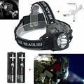 Cabeça 2000Lm XM-L T6 LED Farol 3 Modos de luz Head lamp Lanterna Caça Cabeça da tocha + 18650 + Carregador de Bateria a linha do USB