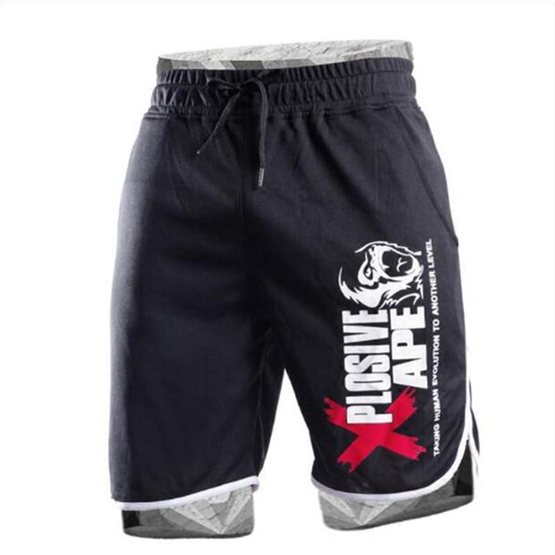 Мужские спортивные шорты, хлопковые спортивные шорты для бодибилдинга, повседневные спортивные шорты для бега|Шорты| - AliExpress