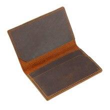 Genuine Leather Credit ID Card Holder Name Vintage Design Crazy Horse Business Mini Slim Wallet