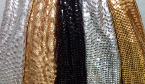 one meter 2mm  3mm square chunky glitter metal mesh fabric