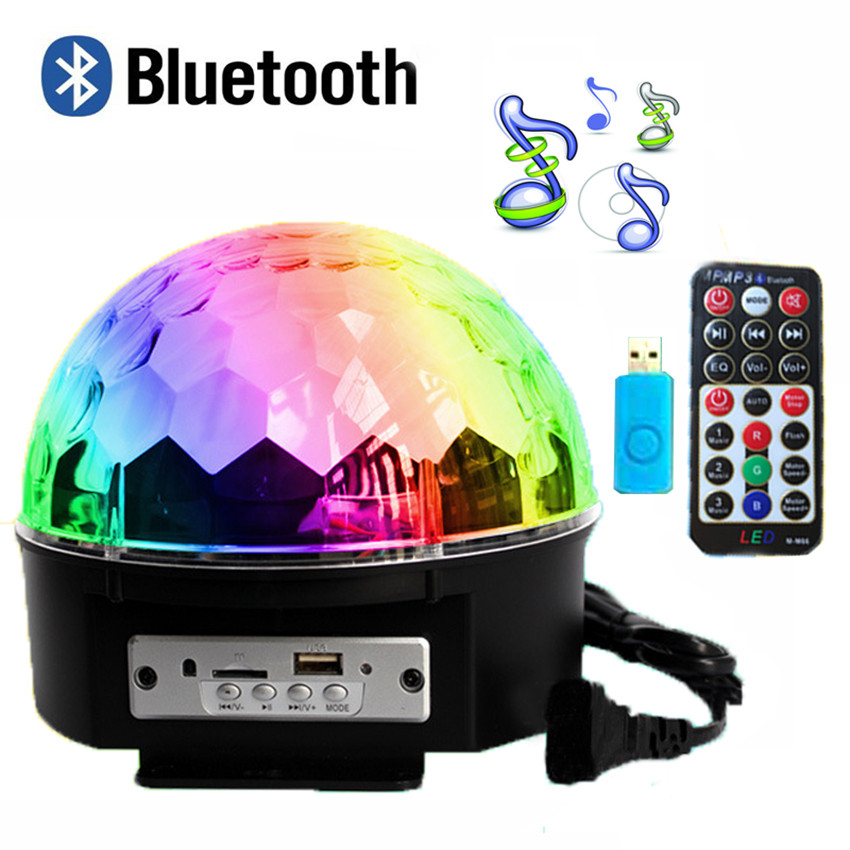 ФОТО Bluetooth 9 Color 27W MP3 Magic Ball Led Stage Lamp 21 Modes Voice Control Disco DJ Party Lights Laser Projector Lamps