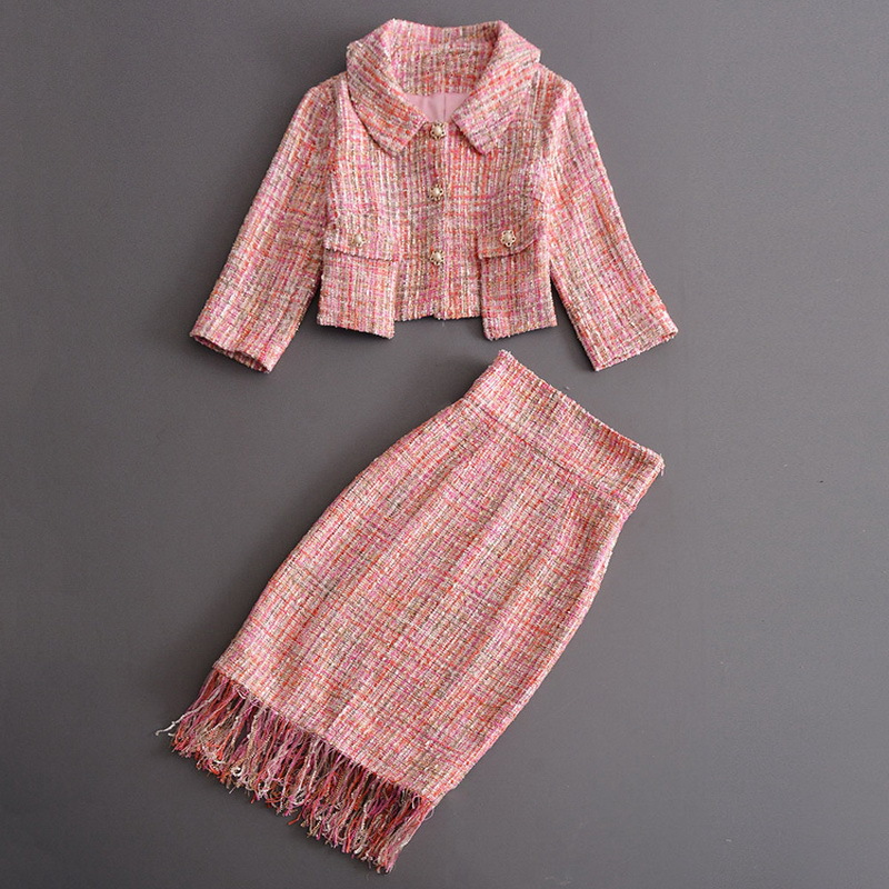 ]Big SaleSuits Skirts Outfits Runway Two-Piece-Set Tweed-Jacket Coats Short Tassels Office Women