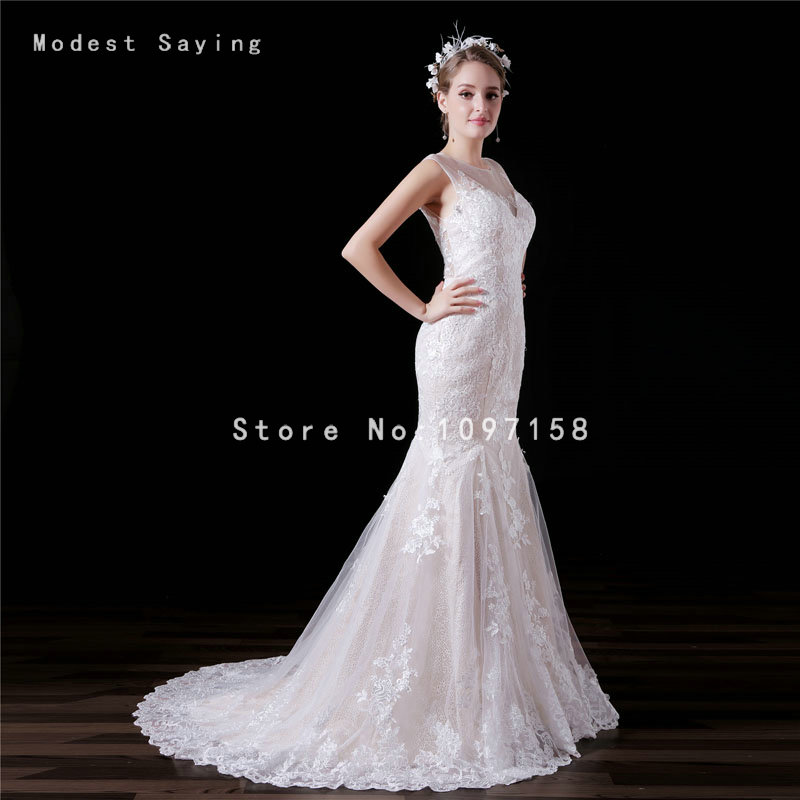 Elegant Ivory and Champagne Mermaid Applique Lace Wedding Dresses ...