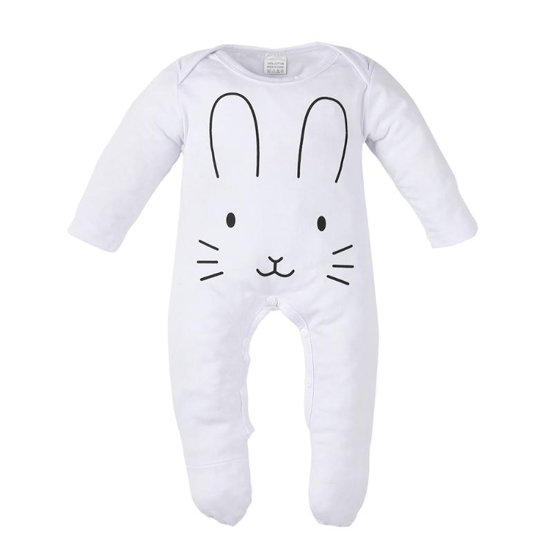 chinatera Newborn Baby Rompers Clothes Cute Rabbit Printed Long Sleeved Romper Jumpsuit Clothing Footed Coverall Baby Clothing newborn baby rompers baby clothing 100% cotton infant jumpsuit ropa bebe long sleeve girl boys rompers costumes baby romper