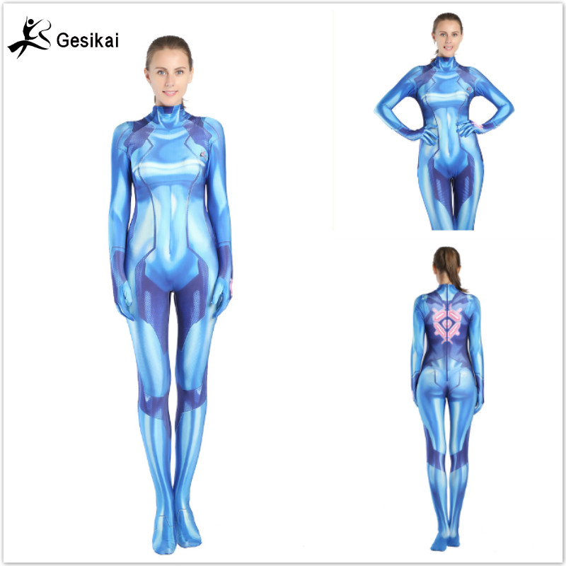 Women Girls Aran Cosplay Costumes Samus Zero Spandex Zentai 3D Printed Bodysuits Jumpsuits Female Samus Zero Halloween Costumes